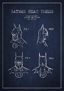 Batman Head Dress Patent Drawing Print by Aged Pixel