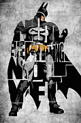 Mixed Media Glass - Batman Inspired Typography Poster by Ayse T Werner