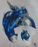 T.shirt Tapestries - Textiles - Batman Painted Tee by Byron Fli Walker