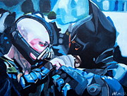 Dark Knight Rises Paintings - Batman vs Bane by Martin Putsey
