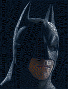 Paul Van Scott Framed Prints - Batman Word Mosaic Framed Print by Paul Van Scott