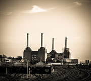 Lenny Carter Framed Prints - Battersea Power Station with train tracks Framed Print by Lenny Carter