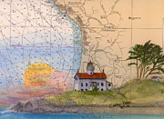 Battery Paintings - Battery Pt Lighthouse CA Nautical Chart Art Cathy Peek by Cathy Peek