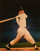 Batting Practice - Mickey Mantle Print by Rick Fitzsimons