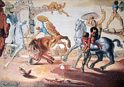 Surreal Tapestries - Textiles - Battle Around a Dandelion by Salvador Dali