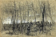 Wilderness Drawings Framed Prints - BATTLE in the WILDERNESS 1864 - CIVIL WAR - VIRGINIA Framed Print by Daniel Hagerman