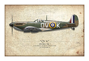 Mitchell Prints - Battle of Britain QVK Spitfire - Map Background Print by Craig Tinder