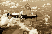 Supermarine Spitfire Posters - Battle of Britain Spitfire sepia version Poster by Gary Eason