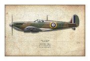 Battle Of Britain Art Posters - Battle of Britain Spitfire X4110 - Map Background Poster by Craig Tinder