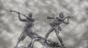 Statue Of Confederate Soldier Posters - Battle of Gettysburg 150 Blue and the Gray Poster by Randy Steele