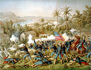 Santiago Cuba Prints - Battle of Qusimas Print by Kurz and Allison