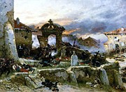 Cemetary Paintings - Battle of Saint Privat Cemetary by Pg Reproductions