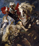 Battle Of St - Battle of St George with the dragon by Peter Paul Rubens