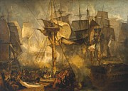 Trafalgar Paintings - Battle Of Trafalgar by Joseph Mallord William Turner