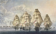 Sailing Ship Drawings Framed Prints - Battle of Trafalgar Framed Print by Robert Dodd