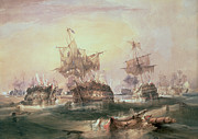 Napoleonic Wars Framed Prints - Battle of Trafalgar Framed Print by William John Huggins