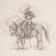Country Art Drawings Prints - Battle of Wills Print by Kim Lockman