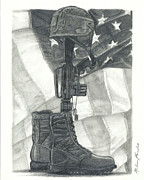 United States Of America Drawings Originals - Battlefield Cross by Melena Paradee