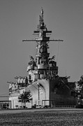Downtown Digital Art Originals - Battleship Alabama from Bow BW v2 by Michael Thomas