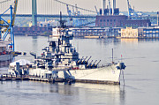 Battleship Photos - Battleship New Jersey and the Walt Whitman Bridge by Bill Cannon