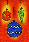 Christmas Eve Mixed Media Prints - Baubles Print by Michal Boubin