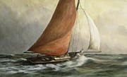 Sailing Paintings - Bawley in the Estuary by Vic Trevett