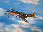 P51 Mustang Posters - Baxter Takes Flight Poster by Julia Robinson