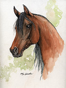 Drawing Painting Originals - Bay arabian horse watercolor painting 16 07 2013 by Angel  Tarantella