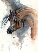 Drawing Painting Originals - Bay arabian horse watercolor painting 2013 11 17 by Angel  Tarantella