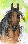 Drawing Painting Originals - Bay Arabian Horse Watercolor Painting  by Angel  Tarantella