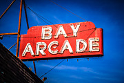 Balboa Peninsula Posters - Bay Arcade Sign in Newport Beach Balboa Peninsula Poster by Paul Velgos