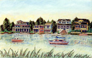 New Jersey Pastels Originals - Bay at Harvey Cedars Long Beach Island New Jersey by Pamela Parsons
