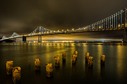 Bay Bridge Art - Bay Bridge and Clouds at Night by John Daly