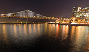 Kate Brown Metal Prints - Bay Bridge Lights and City Metal Print by Kate Brown