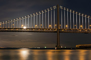 Kate Brown Metal Prints - Bay Bridge Moon Rising Metal Print by Kate Brown