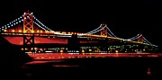 Black Velvet Painting Originals - Bay Bridge by Thomas Kolendra