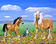Bay Colt Golden Palomino And Pal Print by Phyllis Kaltenbach