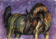 Horse Drawings - Bay horse on the purple background by Angel  Tarantella