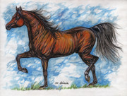 Bay Horse Drawings - Bay horse running by Angel  Tarantella