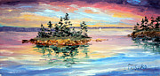 Bay Islands Painting Framed Prints - Bay Island Sunset Framed Print by Laura Tasheiko