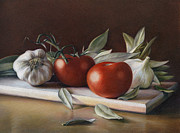 Still Life Drawings Metal Prints - Bay Leafs and Tomatoes Metal Print by Natasha Denger