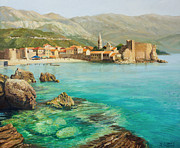 Beach Scenery Painting Prints - Bay near old Budva Print by Kiril Stanchev