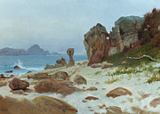 Haze Metal Prints - Bay of Monterey Metal Print by Albert Bierstadt