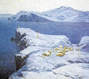 Winter Scenes Mixed Media Metal Prints - Bay of Peter the Great Metal Print by Jake Hartz