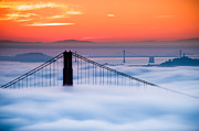 Bay Bridge Photos - Bay Sunrise by Brian Bonham