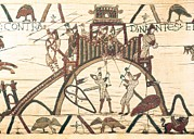 Tapestries Textiles Prints - Bayeux Tapestry. 1066-1077. Detail Print by Everett