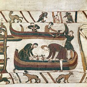 Tapestries Textiles Prints - Bayeux Tapestry. 1066-1077. Making Print by Everett