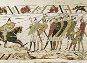 Tapestries Textiles Framed Prints - Bayeux Tapestry. 1066-1077. Tapestry Framed Print by Everett