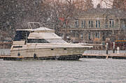 Lots Of Snow Prints - Bayliner in Snow Fall Print by Jocelyn Ball