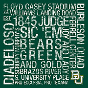 Featured Framed Prints - Baylor College Colors Subway Art Framed Print by Replay Photos